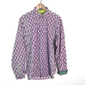 Robert Graham Mens Button Down Shirt XL Purple